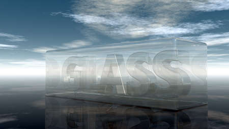 window pane: the word glass in glass under cloudy sky - 3d rendering