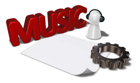 3d rendering wheel: music tag, gear wheel and pawn with headphones - 3d rendering