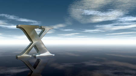 horizon reflection: metal uppercase letter x under cloudy sky - 3d rendering