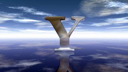 metal uppercase letter y under cloudy sky - 3d rendering