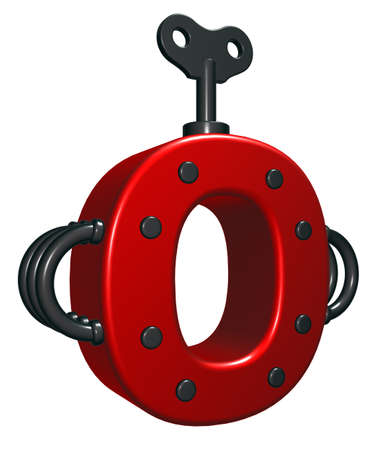 rivets: letter o with decorative pieces - 3d rendering