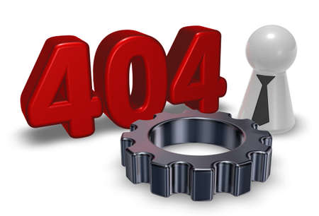 unavailable: error 404 page not found - message, pawn with tie and gear wheel - 3d illustration