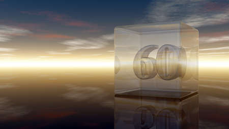 sixty: number sixty in glass cube under cloudy sky - 3d rendering Stock Photo