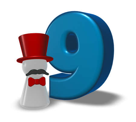 number nine and pawn with hat and beard - 3d rendering Stock Photo