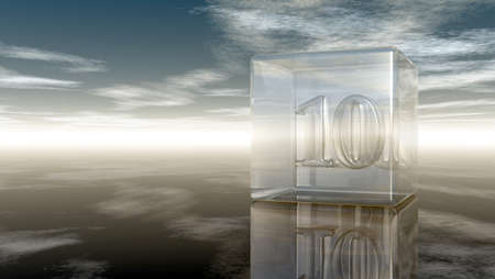 cypher: number ten in glass cube under cloudy sky - 3d rendering
