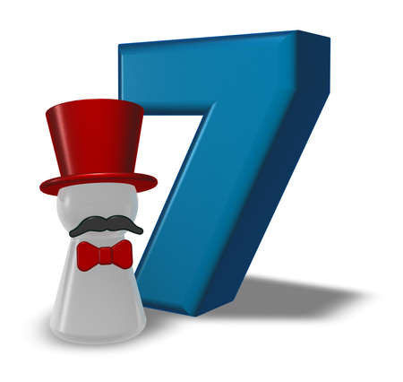 number seven and pawn with hat and beard - 3d rendering