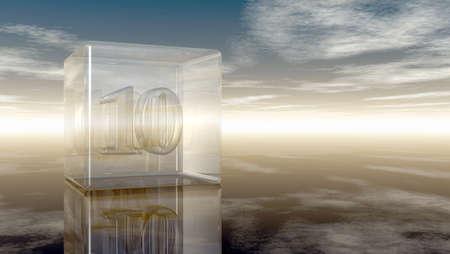 number ten: number ten in glass cube under cloudy sky - 3d rendering