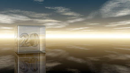 cypher: number twenty in glass cube under cloudy sky - 3d rendering Stock Photo