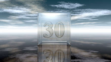 cypher: number thirty in glass cube under cloudy sky - 3d rendering