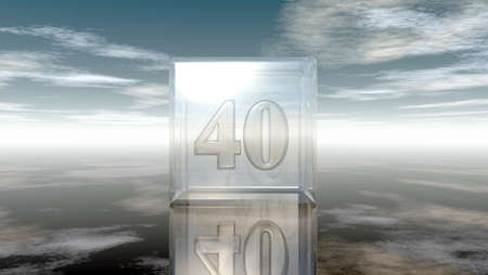 cypher: number forty in glass cube under cloudy sky - 3d rendering