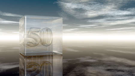 cypher: number fifty in glass cube under cloudy sky - 3d rendering