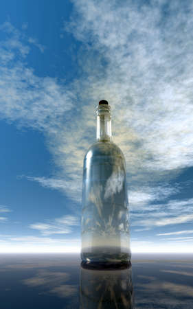 castaway: message in a bottle under cloudy sky  - 3d illustration