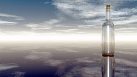 castaway: message in a bottle under cloudy sky  - 3d illustration