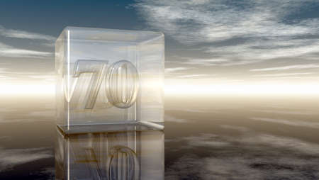 cypher: number seventy in glass cube under cloudy sky - 3d rendering