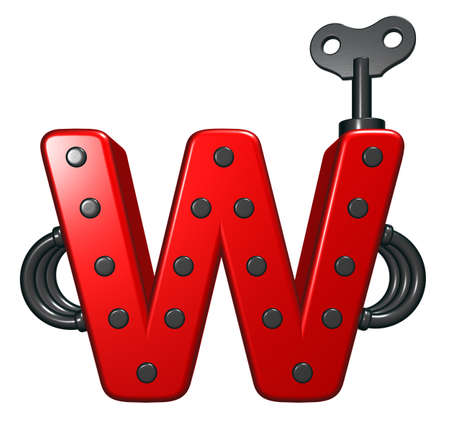 rivets: letter w with decorative pieces - 3d rendering