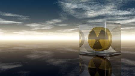 uranium: nuclear symbol under cloudy sky - 3d illustration