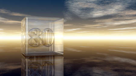 cypher: number eighty in glass cube under cloudy sky - 3d rendering Stock Photo