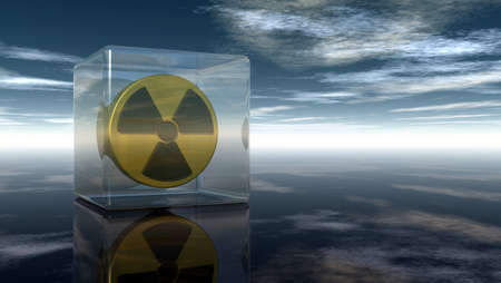 yellow beware: nuclear symbol under cloudy sky - 3d illustration