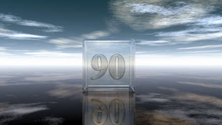 cypher: number ninety in glass cube under cloudy sky - 3d rendering Stock Photo