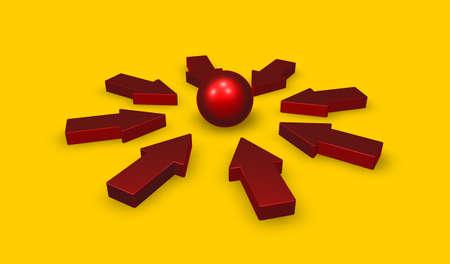 arrows and sphere - 3d rendering