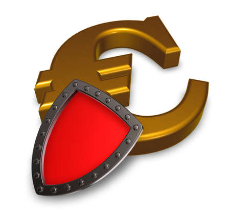 euro symbol and metal shield - 3d illustration