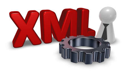 markup: xml tag, pawn with tie and gear wheel - 3d rendering Stock Photo