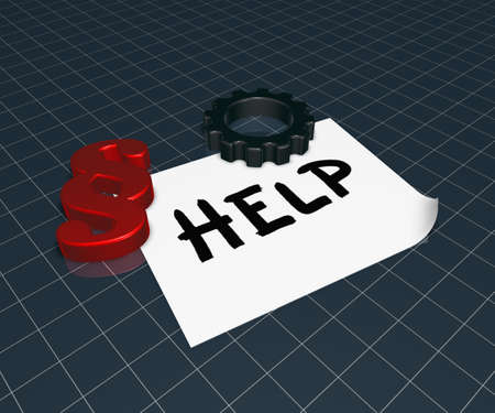 recently: the word help on paper sheet, paragraph symbol and gear wheel - 3d rendering Stock Photo