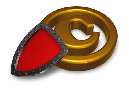 piracy: copyright symbol and shield on white background - 3d illustration