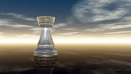 chess rook: glass chess rook under cloudy sky - 3d rendering