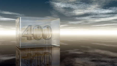 cypher: number four hundred in glass cube under cloudy sky - 3d rendering Stock Photo
