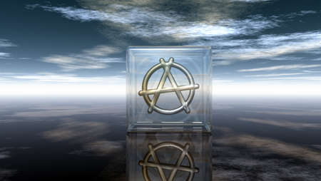 metal anarchy symbol in glass cube - 3d rendering Stock Photo