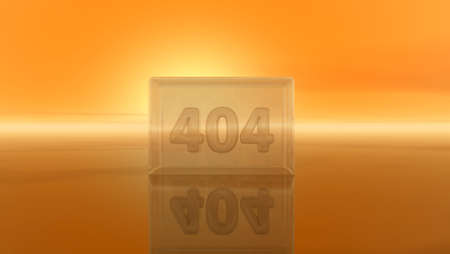 number 404 in glass cube - 3d illustration Stock Photo