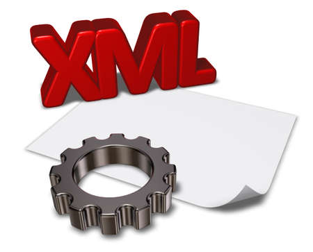 xml: xml tag and gear wheel - 3d rendering