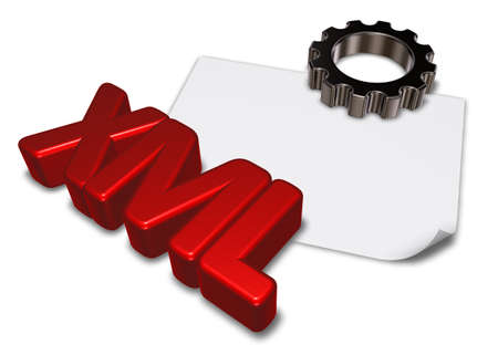 markup: xml tag and gear wheel - 3d rendering