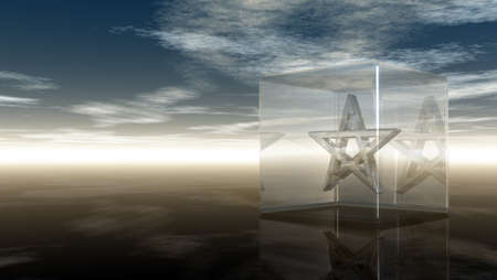cult tradition: pentagram in glass cube - 3d rendering
