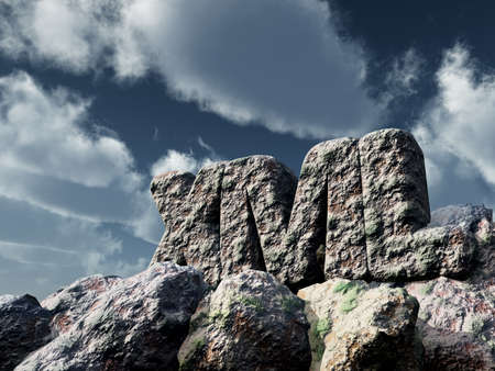 xml: xml rock under cloudy sky - 3d rendering