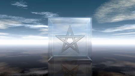 neopaganism: pentagram in glass cube - 3d rendering