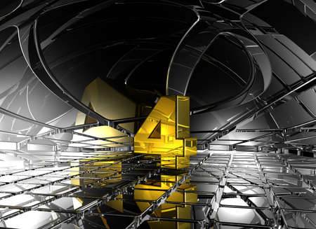 jubilation: number four in abstract futuristic space - 3d rendering