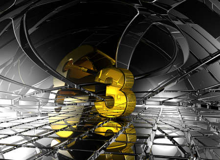 jubilation: number three in abstract futuristic space - 3d rendering
