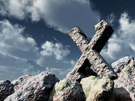 scandinavia: rune rock under cloudy blue sky - 3d illustration