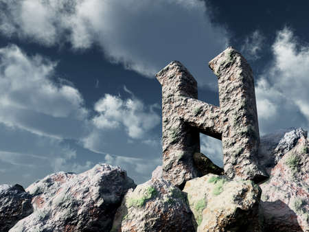 rune rock under cloudy blue sky - 3d illustration