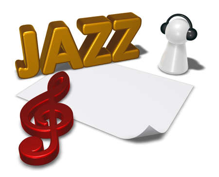 pawns: jazz tag and pawn with headphones - 3d illustration