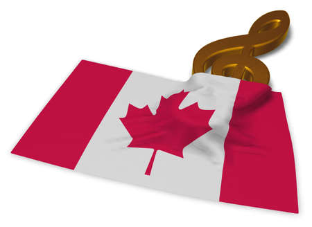 clef symbol and canadian flag - 3d rendering Stock Photo