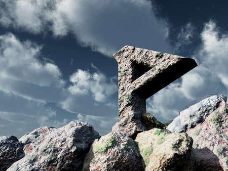 sone: rune rock under cloudy blue sky - 3d illustration
