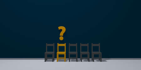 row of chairs, one in yellow and question mark - 3d illustration