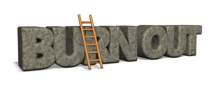 burn out rock and ladder - 3d illustration Reklamní fotografie - 74804944