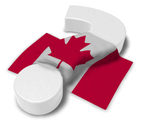 question mark and flag of canada - 3d illustration Stock Photo