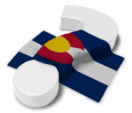question mark and flag of colorado - 3d illustration