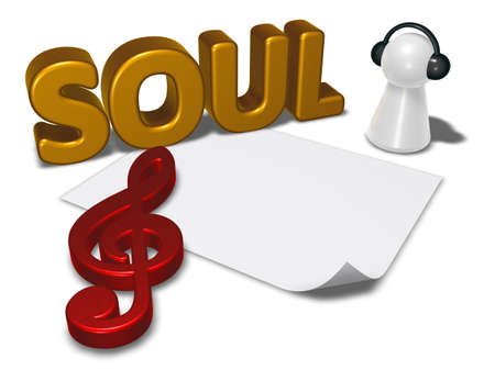 soul tag, blank white paper sheet and pawn with headphones - 3d rendering