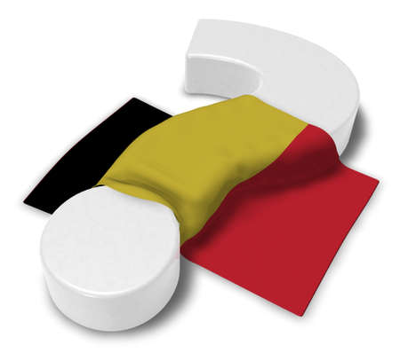 question mark and flag of belgium - 3d illustration Stock Photo